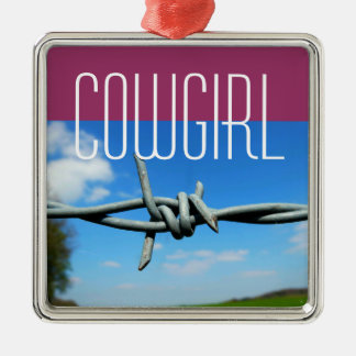 Barbed-Wire Cowgirl Mug Square Metal Christmas Ornament