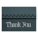 Barbed Wire Fence Biker Thank You Card, Blue