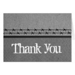Barbed Wire Fence Biker Thank You Card, Gray