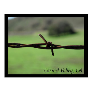 Barbed Wire Fence Carmel Valley, CA Postcard