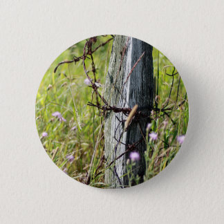 Barbed wire fence post pinback button