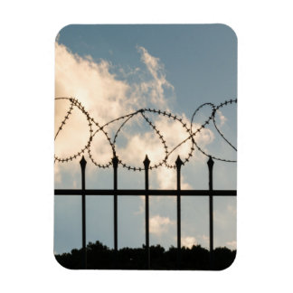 Barbed wire fence rectangular photo magnet