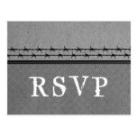 Barbed Wire Fence RSVP Postcard, Gray