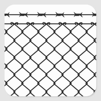 Barbed Wire Fence Silhouette Square Sticker