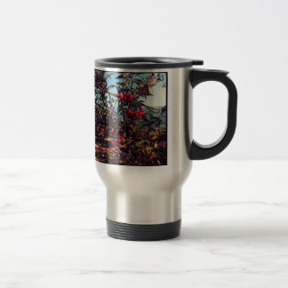 barbed wire fence travel mug