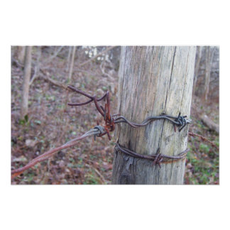 Barbed Wire Fencepost Poster