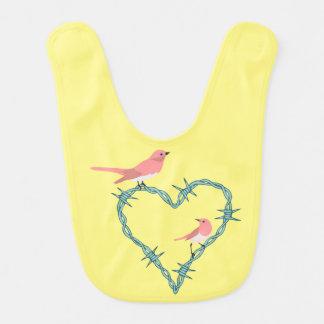 Barbed Wire Heart Birds Baby Bib