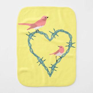 Barbed Wire Heart Birds Burp Cloth