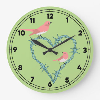Barbed Wire Heart Birds Large Clock