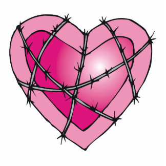 barbed wire heart photo sculpture