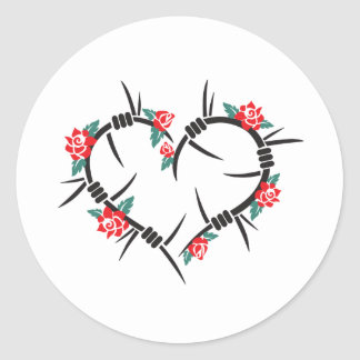barbed wire heart & roses classic round sticker