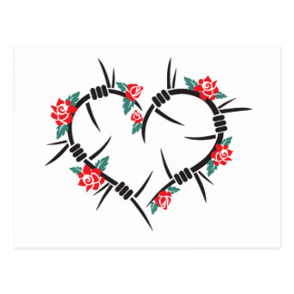 barbed wire heart & roses postcard