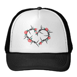 barbed wire heart & roses trucker hat