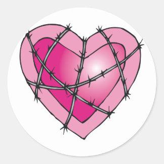 barbed wire heart classic round sticker