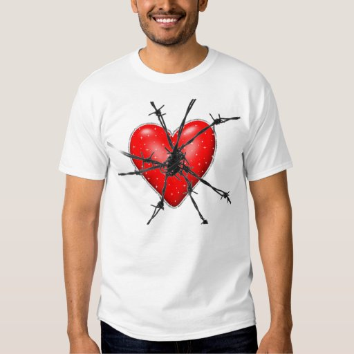 barbed wire heart tee shirt