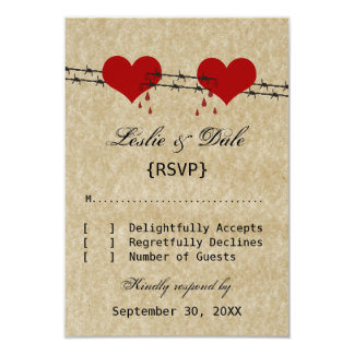 Barbed Wire Hearts Tattoo Biker Wedding RSVP Card