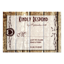Barbed Wire Horseshoe Country Western RSVP Cards