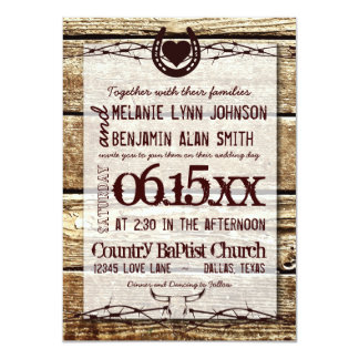 Barbed Wire Horseshoe Rustic Wedding Invitation