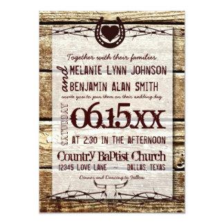 "Barbed Wire Horseshoe Rustic Wedding Invitation 4.5"" X 6.25"" Invitation Card"