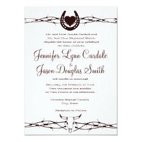 Barbed Wire Horseshoe Western Wedding Invitation