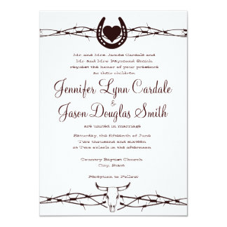 Barbed Wire Horseshoe Western Wedding Invitation Custom Announcement