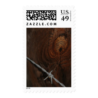 Barbed Wire Knotty Rustic Brown Fence Post Photo Postage