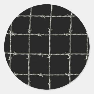 Barbed Wire on Black Classic Round Sticker
