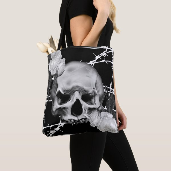 Barbed Wire Skull and Roses Goth Tote Bag