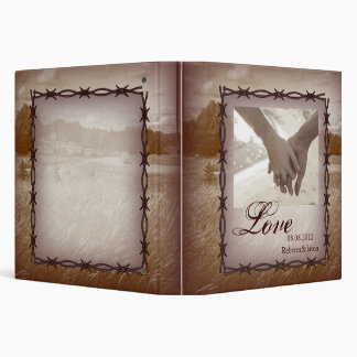 barbed wire western country wedding 3 ring binder