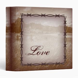 barbed wire western country wedding binder