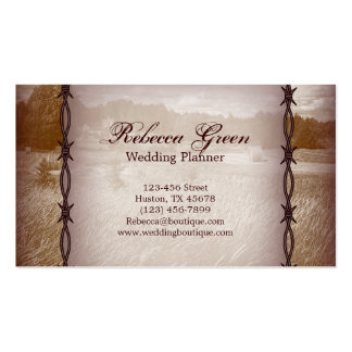barbed wire western country wedding business card