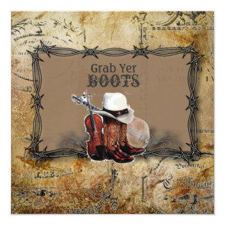 barbed wire western country wedding card