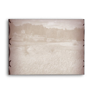 barbed wire western country wedding envelope