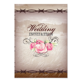 barbed wire western country wedding invitation