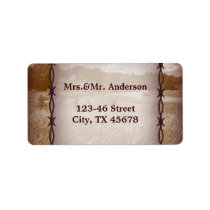 barbed wire western country wedding label