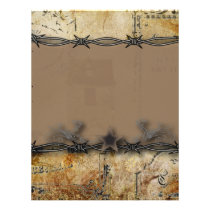 barbed wire western country wedding letterhead