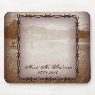 barbed wire western country wedding mouse pad