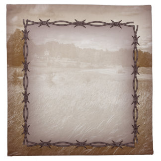 barbed wire western country wedding napkin