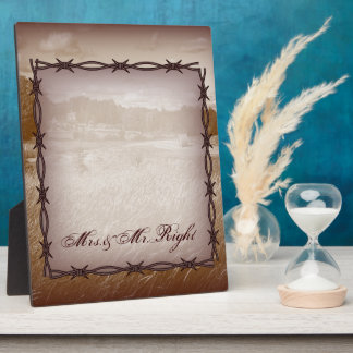 barbed wire western country wedding plaque