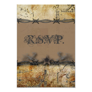 barbed wire western country wedding RSVP response Card