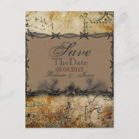 barbed wire western country wedding save the date announcement postcard