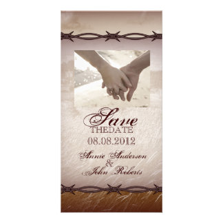 barbed wire western country wedding save the date card