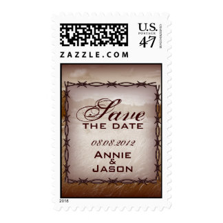 barbed wire western country wedding save the date postage