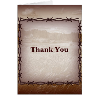 barbed wire western country wedding thank you card