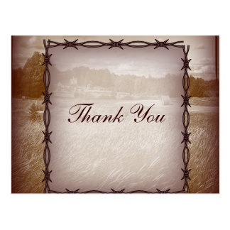 barbed wire western country wedding thank you postcard