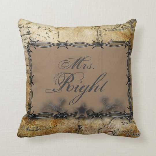 barbed wire western country wedding throw pillow