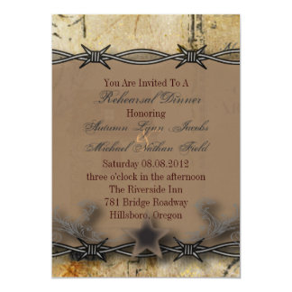barbed wire western wedding rehearsal dinner card