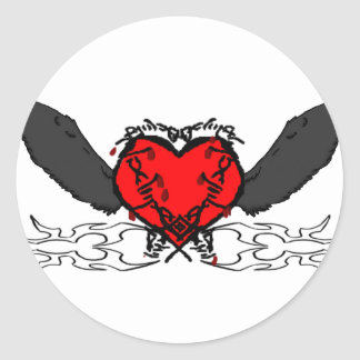 Barbed wire wings classic round sticker