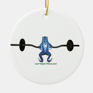 barbell and frog exercising ceramic ornament