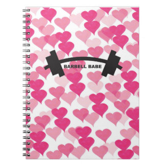 Barbell Babe Hearts Notebook